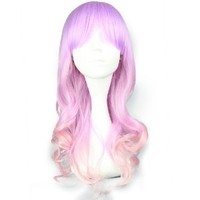 CosplayMIX Long Pink Mixed Magenta Curly Anime Cosplay Hair Wig