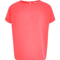River Island Girls bright pink oversized top