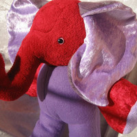 Purple Burgundy ELEPHANT - soft toy home decor stuffed plush Animal - designed and made in Berlin-Germany