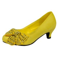 Kids Dress Shoes Embellished Side Bow Dress Pumps Yellow SZ