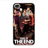2013 This Is the End Movie Poster Fashion Design Hard Case Cover Skin Protector for Iphone 4 4s Iphone4 At & T Sprint Verizon Retail Packing (White Pc + Pearlescent Aluminum) Fs-00260