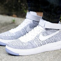 LMFON Nike Air Force 1 Flyknit Mid-High 817420-103 Grey For Women Men Sneakers