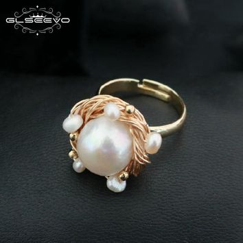 GLSEEVO Natural Fresh Water Baroque White Big Pearl Rings For Women Wedding Gift Handmade Personality Ring Fine Jewellery GR0194