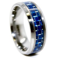 8mm Tungsten Carbide Blue Carbon Fiber Wedding Ring Sizes Available 4-17