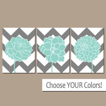 CHEVRON Flower Wall Art, CANVAS or Prints Gray Aqua Bathroom Artwork, Charcoal Bedroom Pictures, Succulent Flower Dahlia Set of 3 Home Decor