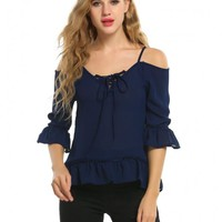Blue Women Lace Up Cold Shoulder 3/4 Sleeve Ruffles Chiffon Blouse Tops
