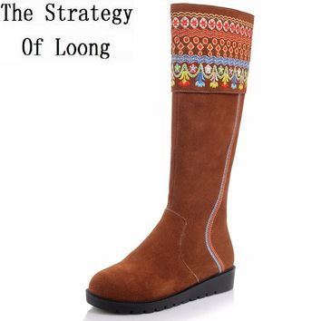 Women Full Grain Leather Thick Warm Knee High Boots Round Toe Flat Traditional  National Style Real Leather Winter Boots 1110