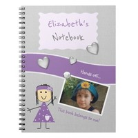 Kids Purple and gray Photo Spiral Notebook