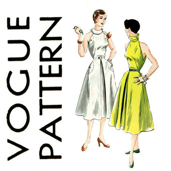 1950s Dress Pattern Bust 32 Vogue 7076 Halter Style Cutaway Armholes Fit and Flare Neckline Interest Womens Vintage Sewing Pattern