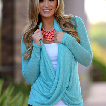 Cross Over Sweater - Knit Mint