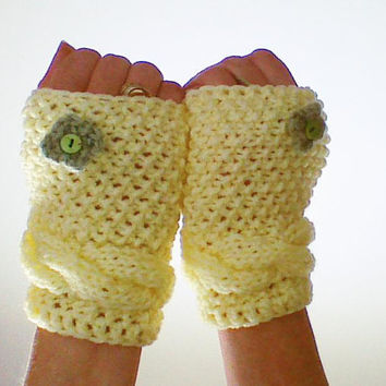 Yellow Hand Knit Fingerless Gloves Texting gloves Mittens Wrist Warmers Hand Warmers Winter Fashion Valentine  hand knit gloves gift for her