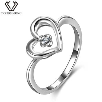 DOUBLE-R 100% Real Diamond Rings Women 925 Sterling Silver Heart Wedding Rings Natural Diamond Jewelry Female Valentine's Gift