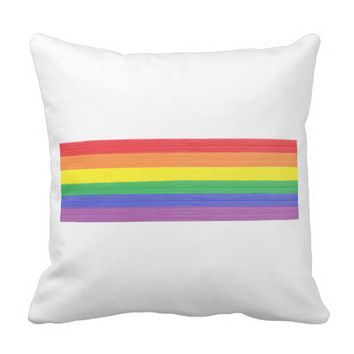 Painted Rainbow Flag Throw Pillow