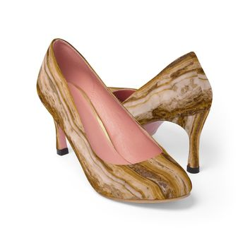 Brown goldish marble pattern women's high heel shoes