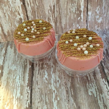 12 Glam Blush Pink Gold Pearl Chocolate Covered Oreo Wedding Baby Bridal Birthday Party Treats Favors Sweets Table Candy Buffet