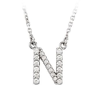 1/6 Cttw Diamond & 14k White Gold Block Initial Necklace, Letter N