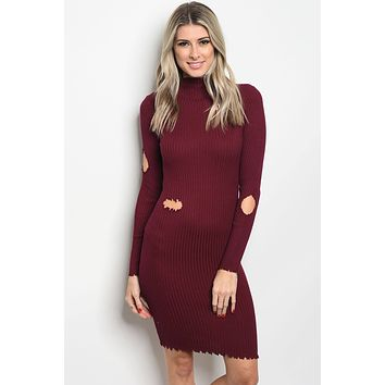 Ladies fashion long sleeve ribbed knit fitted bodycon dress with distressed details and a mock neckline