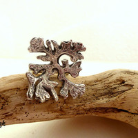 Floral handmade silver ring, oxidized ring inspired by Spring Nature