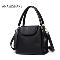 ANAWISHARE Bucket Bags Women Handbags Pu Leather Black Blue Crossbody Shoulder Bags Ladies Tote Bag Bolsa Feminina High Quality