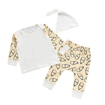 3pcs Baby Unisex Cotton Clothing Set Infant Boys Girls Milk Bottle Print Long Sleeve Tops + Pants + Hat Outfits Children Clothes