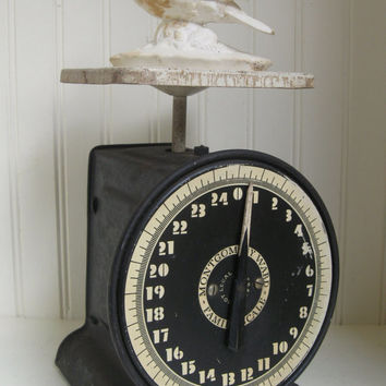 Kitchen Scale Black and Cream Vintage Montgomery Ward Scale Industrial Cottage Farmhouse Original Patina Display Prop Black White Home Decor
