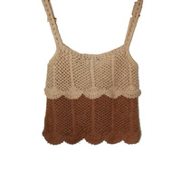 Crocheted Tan and brown crop top.