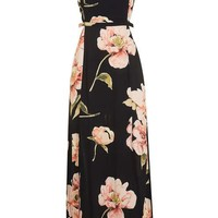 Cut Out Floral Midi Dress - Dresses - Clothing