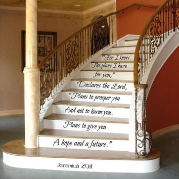 Psalm Wall Decal Quote Family Decals Art Mural Stair Riser Vinyl Sticker Home Bedroom Decal Stairs Decor Living Room Design Interior KY145