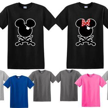 Mickey Minnie Pirate Couple Matching Love Set Men T-shirt