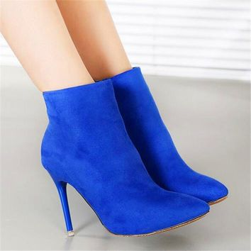2017 New European and American Style Fashion Solid Flock Side Zip Women Boots Sexy Pointed Toe High Heels 9.5cm Shoes 7 Colors