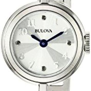 Bulova Womens 96L222 Classic Bangle Bracelet with Blue hands and Silver Dial Watch