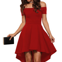 Red Shoulder Off All The Rage Skater Fit and Flare Dress
