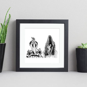 Beetlejuice Inspired Pen & Ink Art Print