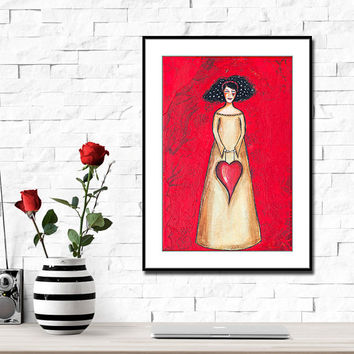 Red Heart Painting - Love Painting - Mixed Media Collage Art - Inspirational Art - Valentines Gift for Her - Bedroom Wall Art - Whimsical