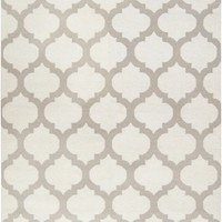 Frontier White and Grey Trellis Print Rug