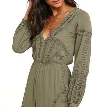 Postcards from Cabo Olive Green Embroidered Romper
