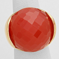 Coral Crystal Ball Silver Stretch Ring