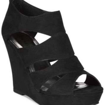 Rampage Canise Caged Platform Wedge Sandals | macys.com