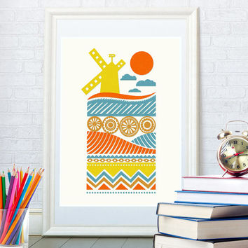 Ornament art print, Scandinavian ethnic design, Kitchen folk art, Minimalist home decor, Wall art, Windmill landscape poster, Pop art