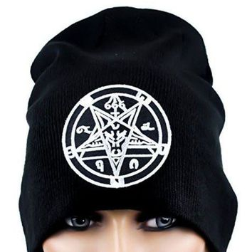 ac spbest Sabbatic Goat Head Baphomet Inverted Pentagram Beanie Knit Cap Occult