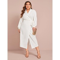 SHEIN Plus Shawl Collar Lantern Sleeve Wrap Knot Dress