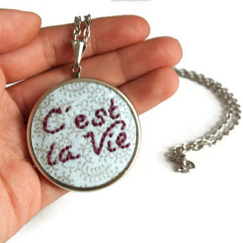 C'est La Vie, French Words, Cest La Vie, Words Jewelry, French Words Fabric, Word Necklace, Fabric French Words, Words Necklace, Hand Stitch