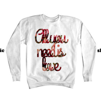 All You Need Is Love Sweatshirt | The Beatles Sweatshirt | Beatles Sweater