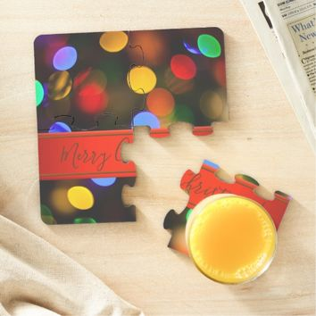 Multicolored Christmas lights. Add text or name. Puzzle Coaster