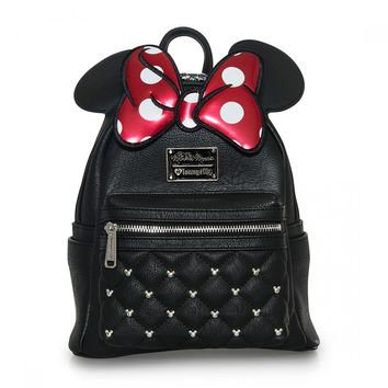 Loungefly x Minnie Bow Mini Faux Leather Disney Backpack