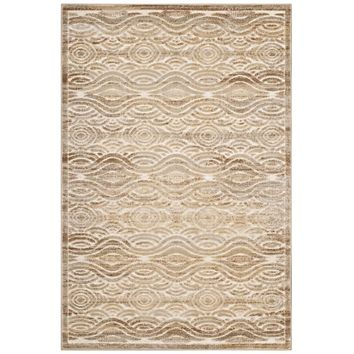 Kennocha Rustic Vintage Abstract Waves 8x10 Area Rug Tan and Cream R-1097A-810
