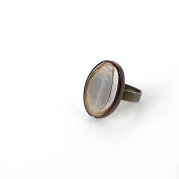Oval Agate Stone Ring, Transparent Brown Agate Slab, Big Gemstone Statement Ring, Semi Precious Stone