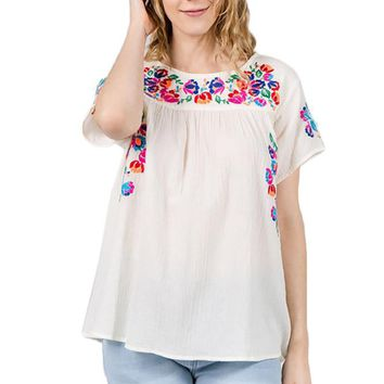 Women Floral Embroidery Bell Sleeve Top