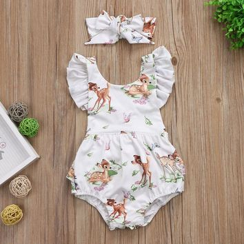 2018 fashion pudcoco baby clothes Toddler Infant Baby Girl Clothes Christmas Deer Romper Headband 2Pcs Set Outfit best gift