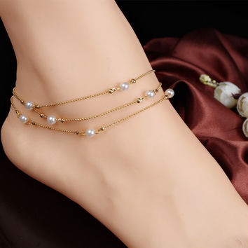 Jewelry Ladies Stylish Cute Gift Sexy New Arrival Shiny Accessory Hot Sale Chain Pearls Anklet [6042901889]